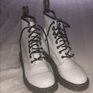 White 1460 Dr. Martens combat boot